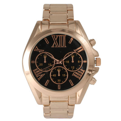 Olivia Pratt Mens Black Dial Rose Goldtone Bracelet Watch 14331Black Rose