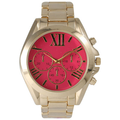 Olivia Pratt Mens Hot Pink Dial Goldtone Bracelet Watch 14331Hot Pink