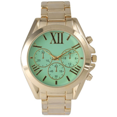 Olivia Pratt Mens Mint Dial Goldtone Bracelet Watch 14331Mint