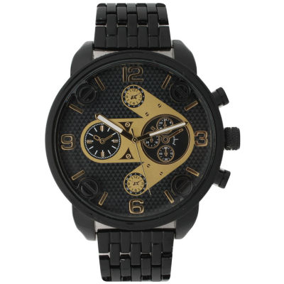 Olivia Pratt Mens Gold & Black Two Tone Dial Black Bracelet Watch 15276Black
