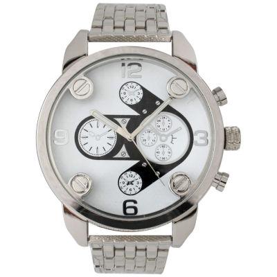 Olivia Pratt Mens Silvertone Bracelet Watch 15276Silver