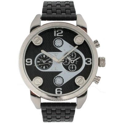 Olivia Pratt Mens Silvertone Bezal Black Bracelet Watch 15276Silver Black