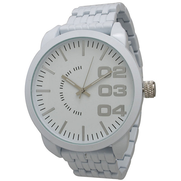 Olivia Pratt Mens White Basket Link Bracelet Watch 15278White