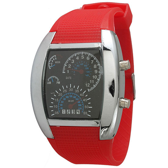Olivia Pratt Mens Red Silicone Digital Watch 8144Red