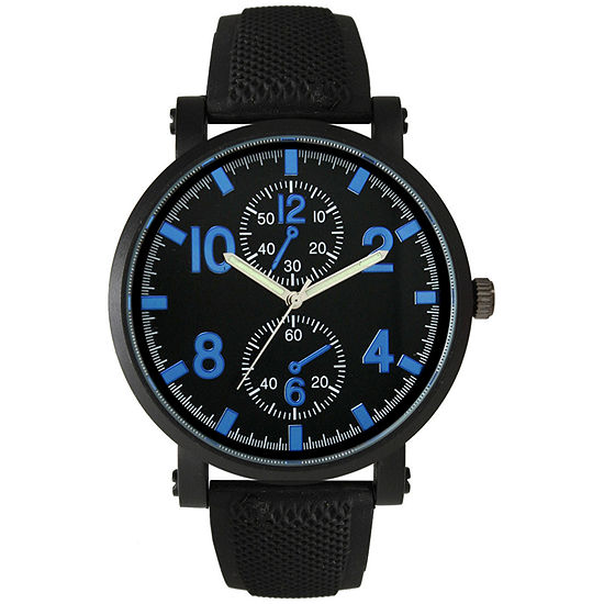 Olivia Pratt Mens Blue And Black Silicone Watch 26525Royal