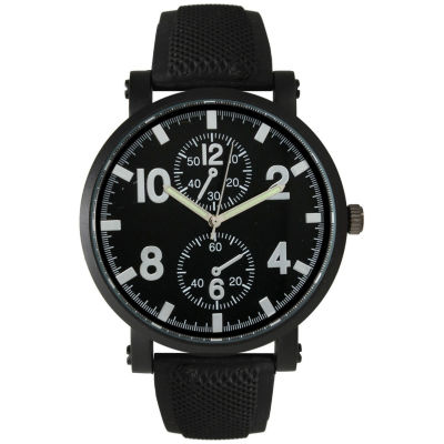 Olivia Pratt Mens Silver And Black Silicone Watch 26525Silver