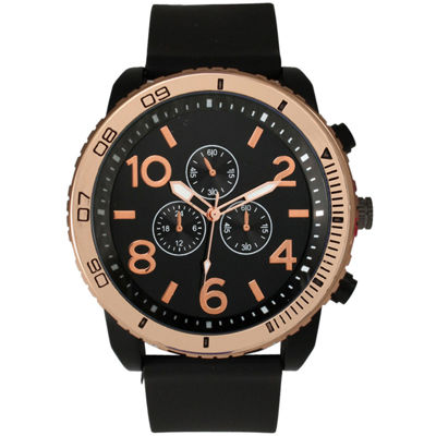 Olivia Pratt Mens Decorative Tachymeter Black Silicone Watch 13586Browngold