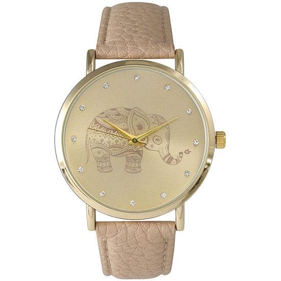 Olivia Pratt Womens Rhinestone Accent Elephant Dial Beige Leather Watch 26411Beige
