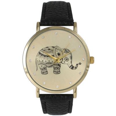 Olivia Pratt Womens Rhinestone Accent Elephant Dial Black Leather Watch 26411Black