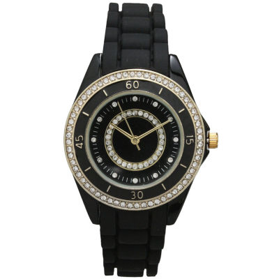 Olivia Pratt Womens Rhinestone Bezel Rhinestone Dial Black Silicone Watch 40036Black