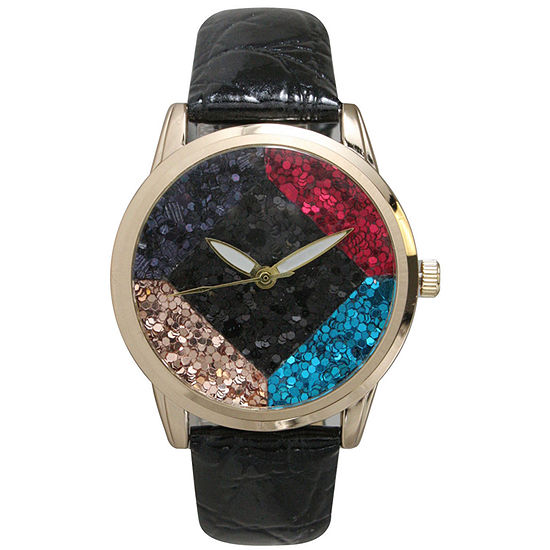 Olivia Pratt Womens Geometric Multi-Colored Stone Dial Black Leather Watch 26664Black