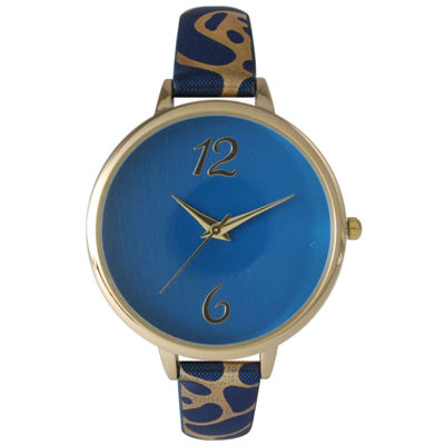 Olivia Pratt Womens Cheetah Print Royal Petite Leather Watch 26356Royal