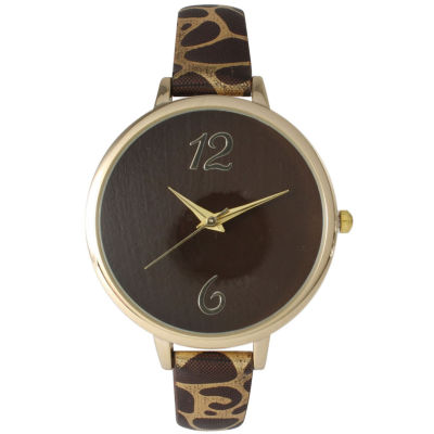 Olivia Pratt Womens Cheetah Print Brown Petite Leather Watch 26356Brown