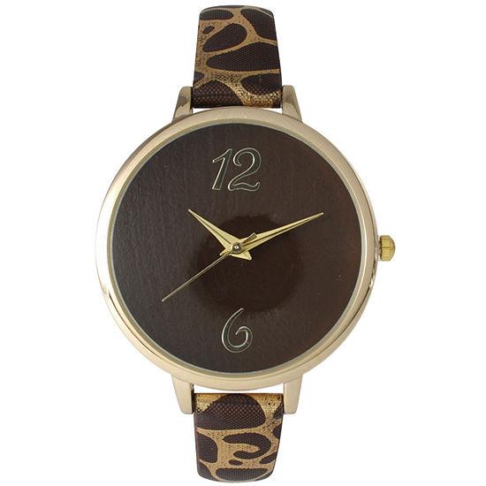 Olivia Pratt Womens Cheetah Print Brown Petite Leather Watch 26356brown