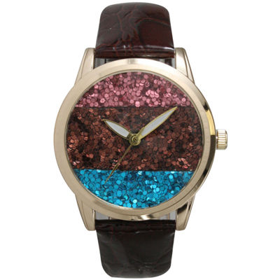 Olivia Pratt Womens Horizontal Multi-Colored Stone Dial Brown Leather Watch 26637Brown