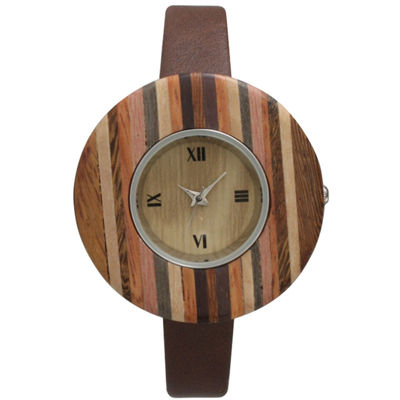 Olivia Pratt Faux Wood Bezel Brown Stripe Petite Leather Watch 26265Wbrown Stripe