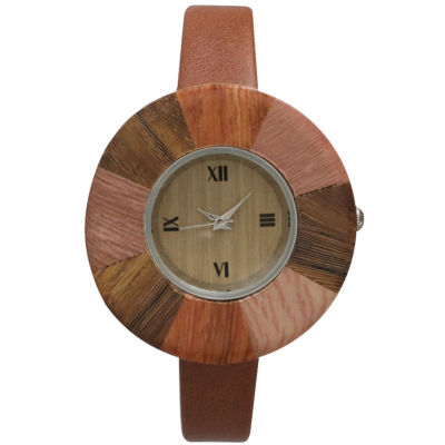 Olivia Pratt Faux Wood Bezel Brown Petite Leather Watch 26265Wbrown