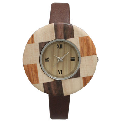 Olivia Pratt Faux Wood Bezel Brown Checker Petite Leather Watch 26265Wbrown Checker