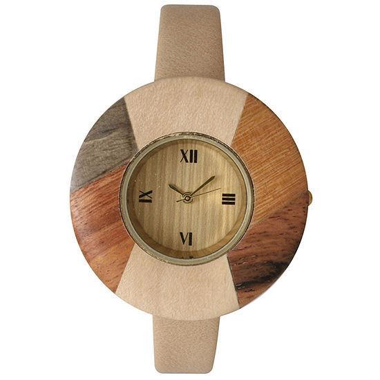Olivia Pratt Faux Wood Bezel Cream Petite Leather Watch 26265Wcream