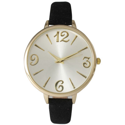 Olivia Pratt Womens Goldtone Bezel Silvertone Dial Black Petite Leather Watch 26357Black