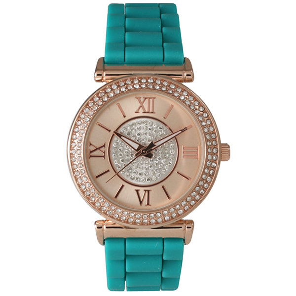 Olivia Pratt Womens Rhinestone Bezel Goldtone And Rhinestone Dial Teal Silicone Watch 40034Teal