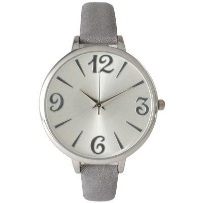 Olivia Pratt Womens Goldtone Bezel Silvertone Dial Silver Petite Leather Watch 26357Silver