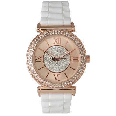 Olivia Pratt Womens Rhinestone Bezel Goldtone And Rhinestone Dial White Silicone Watch 40034White