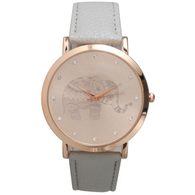 Olivia Pratt Womens Rhinestone Accent Elephant Dial Gray Rose Leather Watch 26411Gray Rose