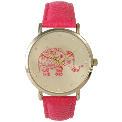 Olivia Pratt Womens Rhinestone Accent Elephant Dial Hot Pink Leather Watch 26411Hot Pink