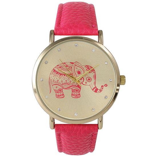 Olivia Pratt Womens Rhinestone Accent Elephant Dial Hot Pink Leather Watch 26411Hot Pink
