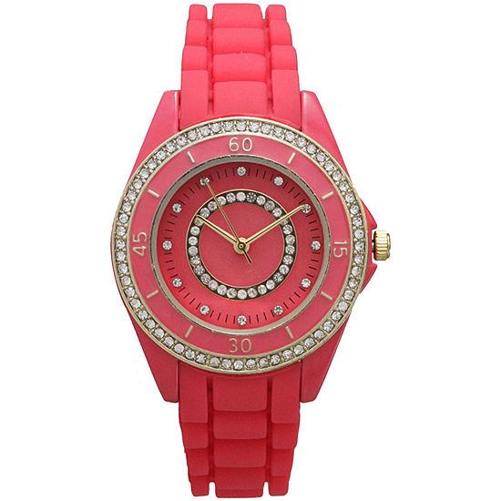 Olivia Pratt Womens Rhinestone Bezel Rhinestone Dial Hot Pink Silicone Watch 40036Hot Pink