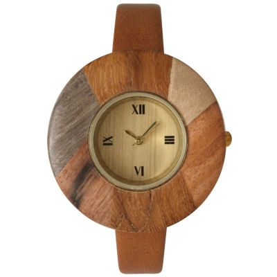 Olivia Pratt Faux Wood Bezel Light Brown Petite Leather Watch 26265Wlight Brown