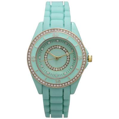 Olivia Pratt Womens Rhinestone Bezel Rhinestone Dial Mint Silicone Watch 40036Mint