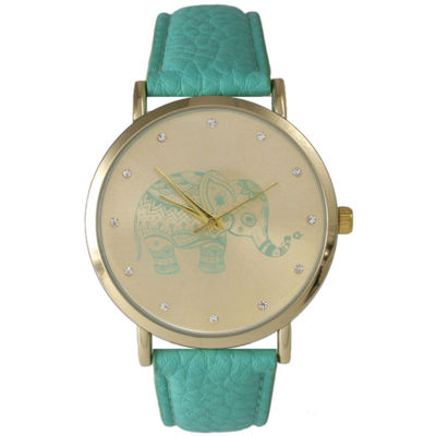 Olivia Pratt Womens Rhinestone Accent Elephant Dial Mint Leather Watch 26411Mint