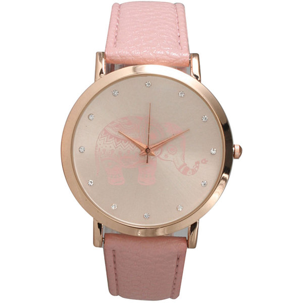 Olivia Pratt Womens Rhinestone Accent Elephant Dial Pink Rose Leather Watch 26411Pink Rose