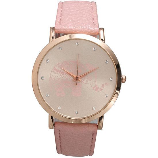 Olivia Pratt Womens Rhinestone Accent Elephant Dial Pink Rose Leather Watch 26411Pink Rose