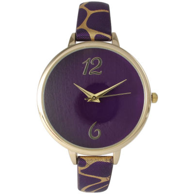 Olivia Pratt Womens Cheetah Print Purple Petite Leather Watch 26356Purple