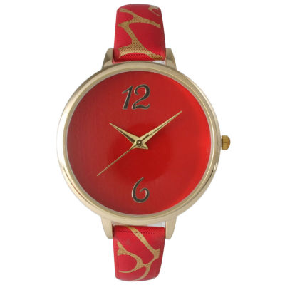 Olivia Pratt Womens Cheetah Print Red Petite Leather Watch 26356Red