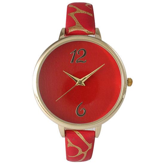 Olivia Pratt Womens Cheetah Print Red Petite Leather Watch 26356Red