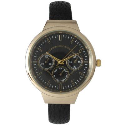 Olivia Pratt Womens Decorative Chronograph Black Petite Leather Cuff Watch 26421Black