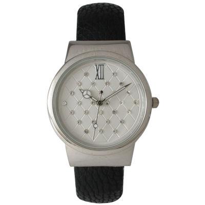 Olivia Pratt Womens Geometric Rhinestone Dial Black Leather Cuff Watch 26420Bblack