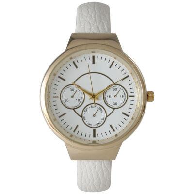 Olivia Pratt Womens Decorative Chronograph White Petite Leather Cuff Watch 26421White