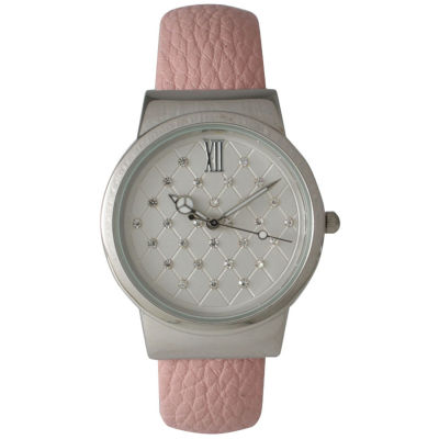 Olivia Pratt Womens Geometric Rhinestone Dial Light Pink Leather Cuff Watch 26420Blight Pink