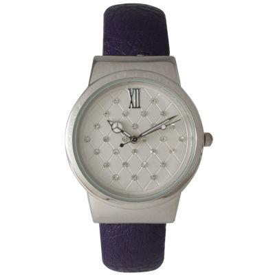 Olivia Pratt Womens Geometric Rhinestone Dial Purple Leather Cuff Watch 26420Bpurple