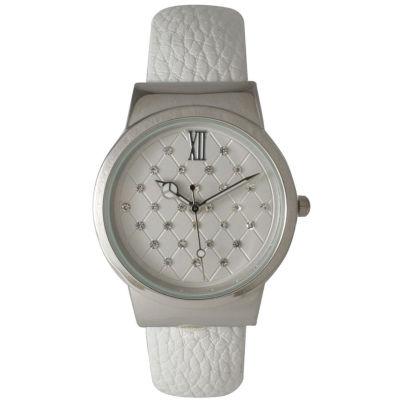 Olivia Pratt Womens Geometric Rhinestone Dial White Leather Cuff Watch 26420Bwhite