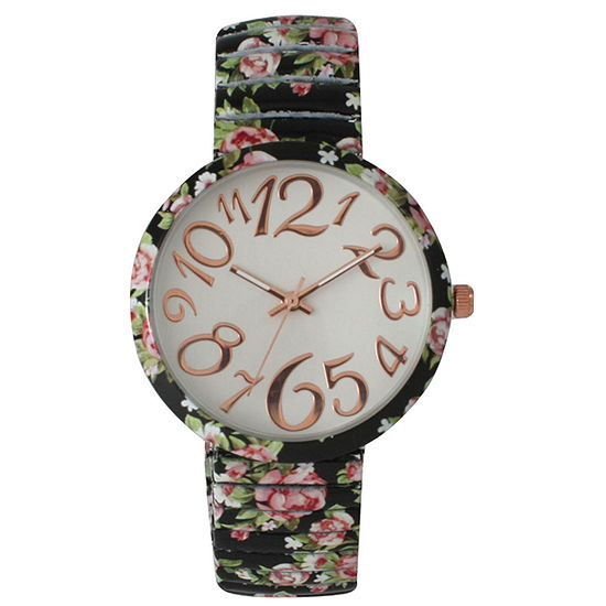 Olivia Pratt Womens Black Pink Roses Floral Expansion Band Watch 25975Black Pink Roses