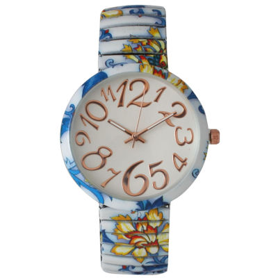 Olivia Pratt Womens Blue Yellow Floral Expansion Band Watch 25975Blue Yellow
