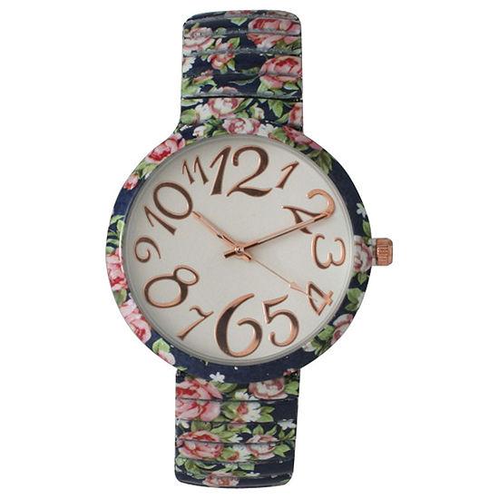 Olivia Pratt Womens Navy Floral Expansion Band Watch 25975Navy
