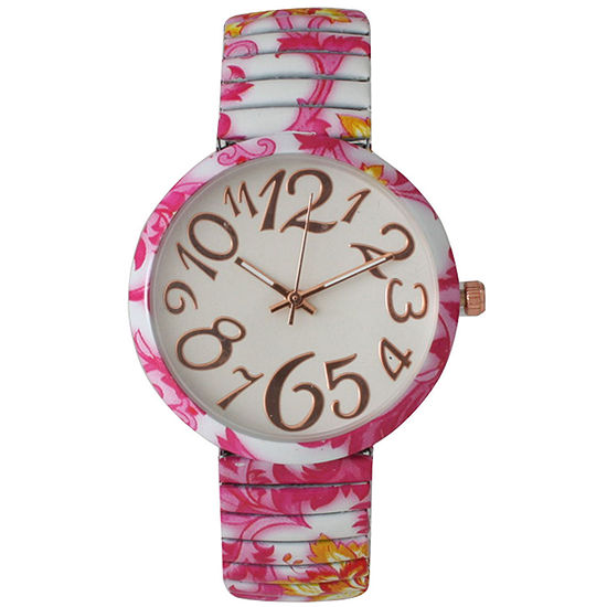 Olivia Pratt Womens Pink Yellow Floral Expansion Band Watch 25975Pink Yellow
