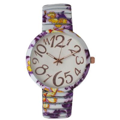 Olivia Pratt Womens Purple Yellow Floral Expansion Band Watch 25975Purple Yellow